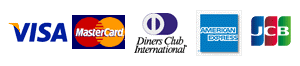 VISA, MasterCard, Diners Club International, AMERICAN EXPRESS, JCB